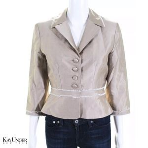 KAY UNGER Classy Beige/Wht Pleated ButtonUp Blazer